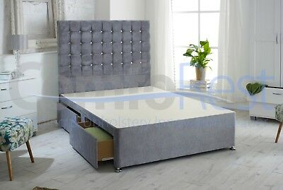"CUBEX CRUSHED OR PLAIN VELVET LUXURY Divan Bed + 54"" height Headboard - UK"