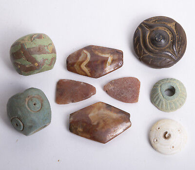 Lot of 9 Ancient Near Eastern Stone, Glass Beads c.6th century BC.