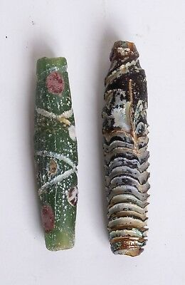 Lot of 2 Ancient Large Roman Glass Beads c.1st-2nd century AD.