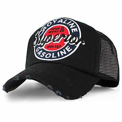 (TG. Taglia unica) Nero Distressed Superior Vintage Trucker Mesh Cap Badge (WKX)