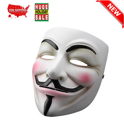 V For Vendetta Mask Anonymous Guy Fawkes Fancy Dress Xmas Party Costume Cosplay