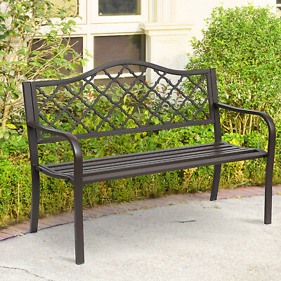 Antique Style Outdoor Cast Iron Front Porch Bench Path Chair Seat Outdoor