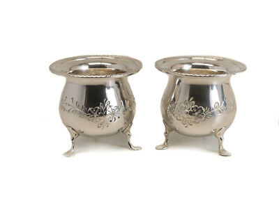 Pair Sterling Silver Footed Toothpick Holders Hand Chased Floral Gadroon Rim