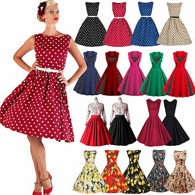 Damen Vintage 60er Rockabilly Party Petticoat Hepburn Ballkleid Abendkleid Retro