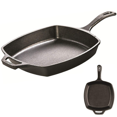 Cast Iron Skillet For Frying Eggs Baking Roasting Grill Oven Square Pan LODGE