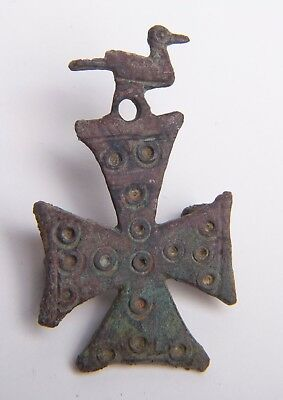 Ancient Byzantine Bronze Cross with Bird c.6th century AD.