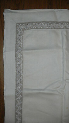 "Vintage White Linen Tablecloth with Fancy Lace Panel. 62""x 48"" Rectangular"