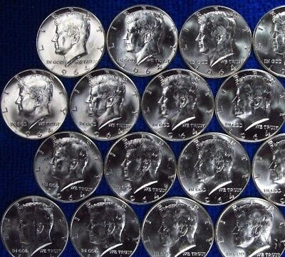 Gem 1964 Kennedy Half Dollar From Unopened Bank Rolls-Silver,bullion,$2 Bills