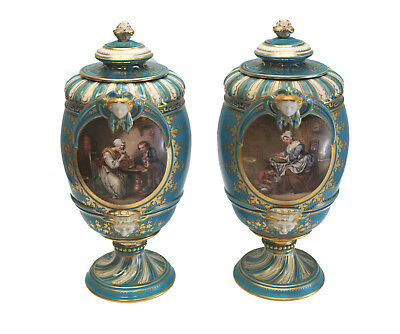 Pair Sevres France Porcelain Hand Painted Urns, 19th Century. Mothers & Children