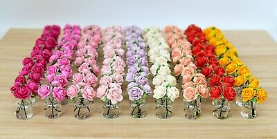 Dolls House Miniature Roses in Vase Flowers Bouquet Living Room Kitchen