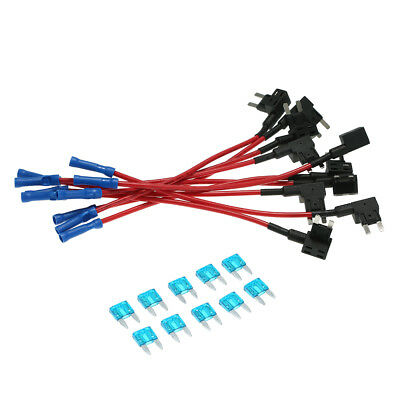 10Pcs 12V Car Add-a-circuit Fuse TAP Adapter Mini Blade Fuse Holder ATM APM B4Y7