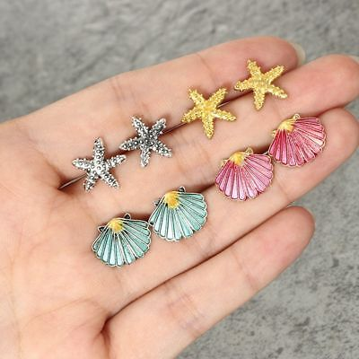 4 Pairs Women Starfish Shell Multicolored Stud Earrings Set Summer Beach Jewelry