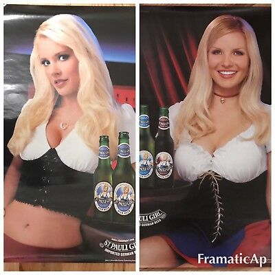 """Lot Of 2 St. Pauli Girl Beer Posters (2005 & 2006) NEW! 19"""" x 27 1/2"""""""