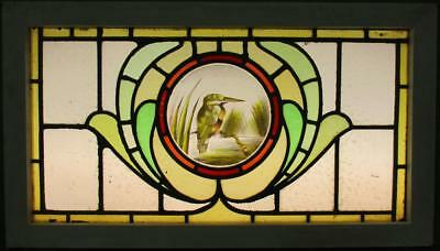"""OLD ENGLISH LEAD STAIN GLASS WINDOW TRANSOM Hand Painted Kingfisher 31.5"""" x 18"""""""
