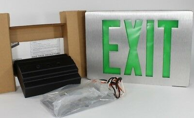 GREEN LED EXIT SIGN 2-sided NEW Lithonia Lighting SIGNATURE DIE-CAST ALUMINUM