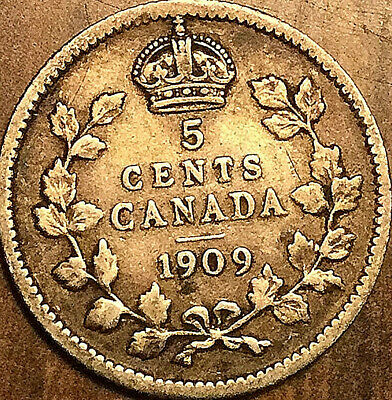 1909 CANADA SILVER 5 CENTS SILVER COIN - Cross/Bow tie Round leaves - Very rare!
