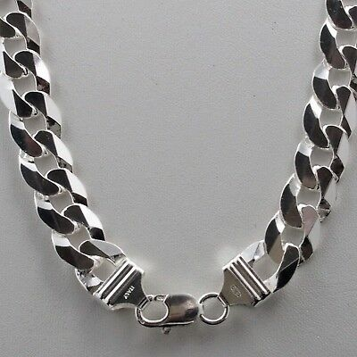 """Mens 13.1mm Solid 925 Sterling Silver Cuban Link Curb Chain Necklace 24"""" Italy"""