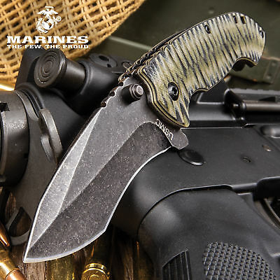 USMC Spring Assisted Folding Pocket Knife G10 EDC Military Army Tactical Open