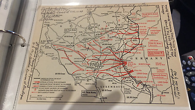 5 Vets signed BATTLE OF THE BULGE map - AWESOME