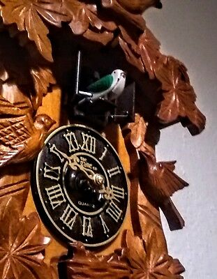 Hand Carved Wood Animatedl Quartz Cuckoo Clock The Time Co.