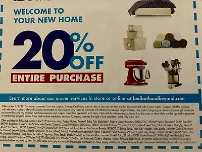 Bed Bath and Beyond  20% Off Entire Purchase 1coupon - expires 1/1/19
