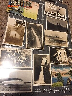 Lot Of 9 Vintage Real Photo Postcards Seattle Washington Linen Tint Folder 1940s