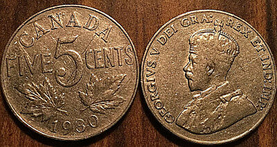 1930 CANADA 5 CENTS COIN GRADE G or Better BUY 1 OR MORE Its free S/H
