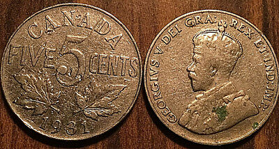 1931 CANADA 5 CENTS COIN GRADE G or Better BUY 1 OR MORE Its free S/H