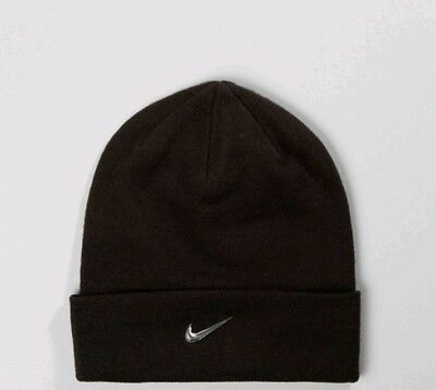 Adult Unisex Nike Beanie Hat -  Black with Metallic Silver Swoosh. 803734-010