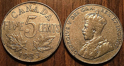 1933 CANADA 5 CENTS COIN GRADE G or Better BUY 1 OR MORE Its free S/H
