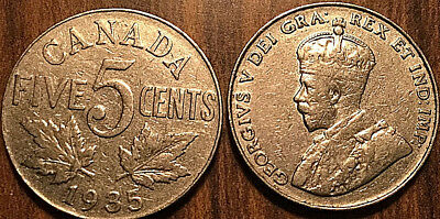 1935 CANADA 5 CENTS COIN GRADE G or Better BUY 1 OR MORE Its free S/H
