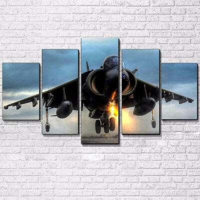 Vintage Aircraft Flying Over Sunset 5 Panel Canvas Print Wall Art Home Decor