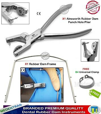 Kit de Digue Dentaire Rubber Dam Punch Ainsworth Forceps Endo Clamps B4 Brinker
