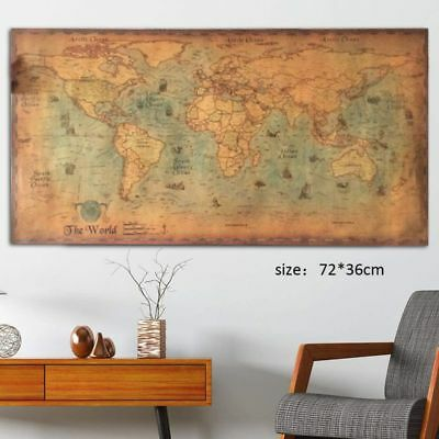 Retro Nautical Ocean Sea World Map Paper Painting Wall/Home Decor Office Decors