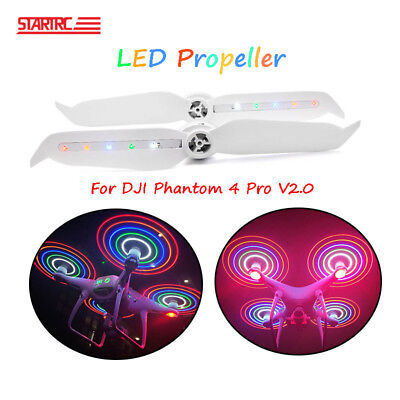 1 Pair Low-noise LED Flash Propellers Blade Props For DJI Phantom 4 V2.0 Drone