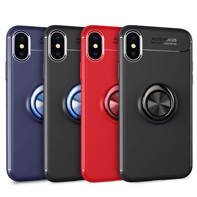 For iPhone X XS XR XS Max 7 8 Plus Metal Magnetic Ring Holder Stand Case Cover