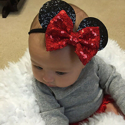 Baby Girls Kid Minnie Mouse Ears Headband Shiny Sequin Bow Hair Band Accessory