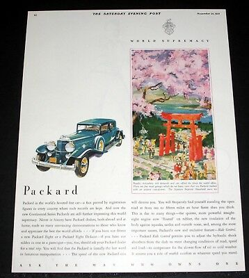 1931 Old Magazine Print Ad, Packard Continental Series, Worlds Favored Fine Car!
