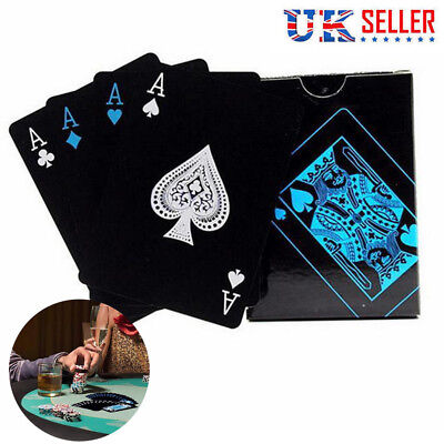 Top Quality Black Plastic PVC Poker Waterproof Magic Playing Cards Table Game UK