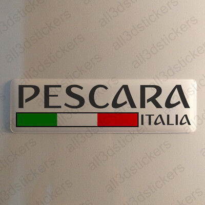 """Pescara Italy Sticker 4.70x1.18"""" Domed Resin 3D Flag Stickers Decal Vinyl"""