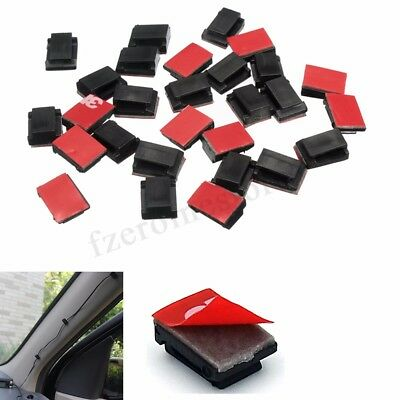 50/100PCS White Black Plastic Cable Mount Clip Clamp Self-adhesive Rectangle New