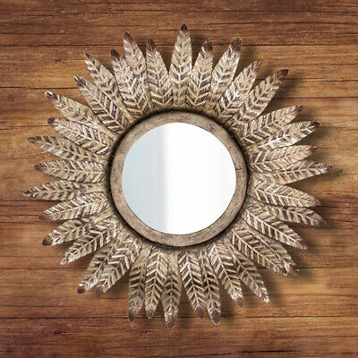 Decorative Antique Bronze Mirror Round Wall Mounted Vintage Feathered Art Deco