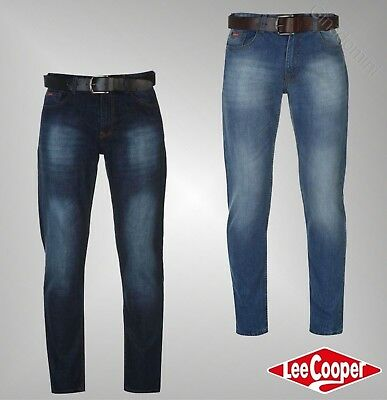 Mens Branded Lee Cooper Classic Slim Guy Distressed Jeans Bottoms Waist 30-38