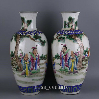 "16"" Qing daoguang mark China antique Porcelain famille rose Fu Lu Shou Vase pair"