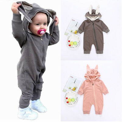 Toddler Baby Girl Boy 3D Ear Bunny Rabbit Romper Jumpsuit Hooded Outfit Clothes