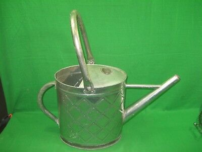 Vintage Galvanized Tin Metal Watering Can with Handle Intricate Details