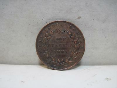 C. 1835 British India Coin One Quarter Anna East India Company AU