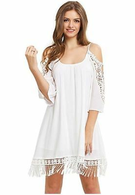 42b6ac7518 Milumia Women's Summer Cold Shoulder Crochet Lace Sleeve Loose Beach Dress  White