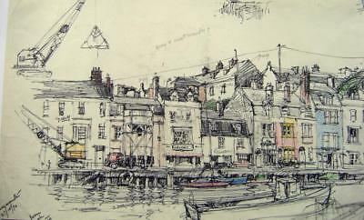 Landscapes Main Waterfront Weymouth R Andrew-Jones Ink /Crayon 1970