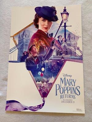 "MARY POPPINS RETURNS 13""x19"" Original Promo Movie Poster MINT AMC Fan Event 2018"